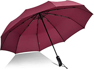 YQRYP Automatic Umbrella Men and Women Large Double Three Folds Open Reinforcement Windproof Umbrella and Rain Umbrella Windproof Umbrella, Golf Umbrella (Color : Red)