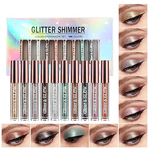 10 Colors Liquid Glitter Eyeshadow Set, Metallic Glitter Shimmer Naked Smokey Eye Looks Waterproof Long Lasting Quick-Drying Sparkling Eye Shadow Makeup Kits