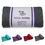 Yogibato Yoga Mat Towel – Non-Slip & Quick-Drying – Anti-Slip Pilates Towel – Non Slip Bikram Grip Towels – [183 x 61 cm, 72' x 24'] Anti-Slip Hot Yoga Towel – Dark Grey