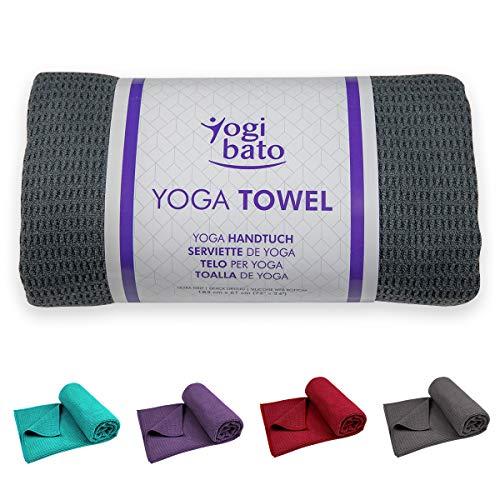 Yogibato Yoga Handtuch rutschfest & schnelltrocknend – Yogahandtuch Antirutsch – Mikrofaser Yogatuch – Non Slip Yoga Towel [183 x 61 cm] Anthrazit