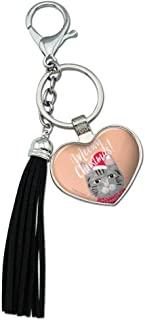 Meowy Merry Christmas Cat in Sweater and Hat Chrome Plated Metal Heart Leather Tassel Keychain