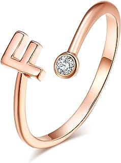 خاتم نسائي روس ذهبي الأولي من HUASAI قابل للتعديل 26 خواتم الأبجدية القابلة للتكديس مع اسم أولي حلقة مفصل لإشبينة العروس (F)