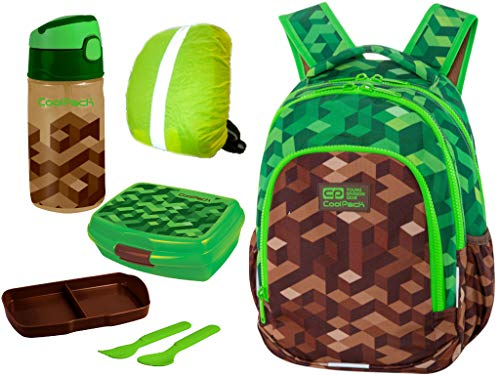 Coolpack Rucksack Schulrucksack Tagesrucksack Kinderrucksack 23L Brotdose Trinkflasche Regenschutz 4SET