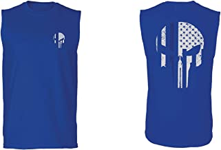 Police Lives Matter Support Thin Blue line Skull USA Flag American Mens Muscle Tank Top Sleeveless