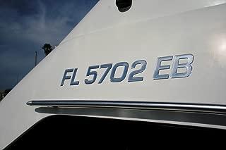3D Lettering Boat & Jetski Registration Numbers - Domed/raised Decal (16 Pcs) Plain Chrome/SURF Series Font Style