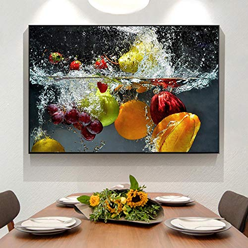 juntop Poster e Stampe HD con Frutta e Verdura in Acqua Poster e Stampe su Tela Pittura murale per Cucina e Negozio Decorazione murale 70 x 100 cm (Senza Cornice)