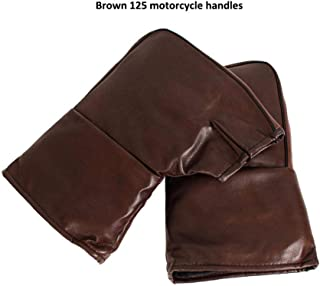 Younar Motorcycle Handlebar Mittens PU Thicker Leather Cold-Proof Waterproof Warm Cycling Gloves Hands Covers Suit for Most Motorcycles and Scooters