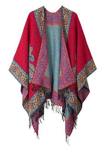Schicker Damenponcho, Vintage-Umhang mit Schal und Quasten, traditionelles Muster Gr. One size, series 2 Red