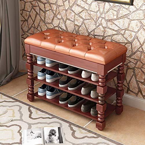 KCSds Shoe Storage Cabinet, 3-laags massief houten schoen Bench, bergkast Deur Dressoir Organizer met hef- Top, moderne minimalistische schoen Frame, Lederen Surface (wit/bruin) (Color : Brown)