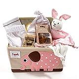 Organic Baby Gift Basket Under $100.00 for Girls - Pink & Tan