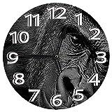 時計 壁掛け時計アナログクロックインテリア円形 静音 ゴリラエイプブラックホワイトポートレート 印刷 掛置兼用フラットフェイス 家寝室居間 直径25cm 部屋装飾