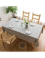 Pure Color Rectangular Cotton and Linen Tablecloth Tassel Three-dimensional Embroidered Plaid Table Mat Coffee Table Table Cloth,gray,140 * 200cm