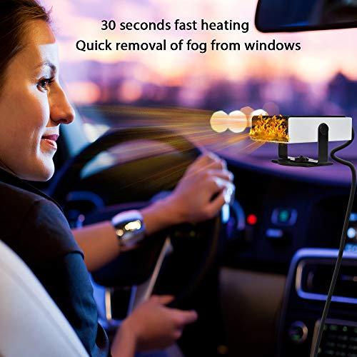 Luoistu Calentador portátil para automóvil, 2 en 1 12V 150W Enchufe el Calentador para automóvil Desempañador del Parabrisas Calentador y Ventilador de enfriamiento, 180 Grados Giro/Bajo Ruido