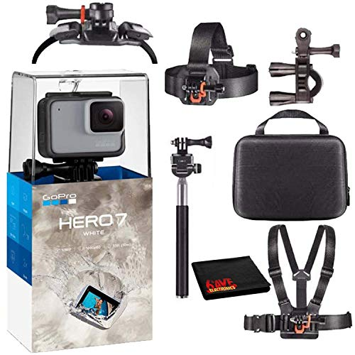 GoPro HERO7 Hero 7 Waterproof Digital Action Camera with Action Kit Accessories Body Bundle (White)
