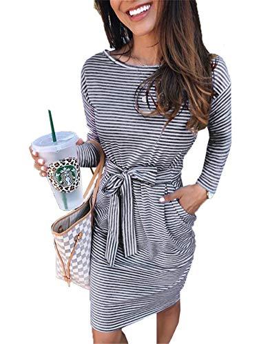 PRETTYGARDEN Women's 2020 Casual Short Sleeve Party Bodycon Sheath Belted Dress with Pockets (X-Dark Grey, Small)