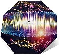 カラフルな音楽ノートブリンブリン自動旅行傘防風コンパクト8リブ自動開閉耐水性UV保護太陽と雨屋外傘-男性と女性にぴったりの素晴らしいギフトの選択