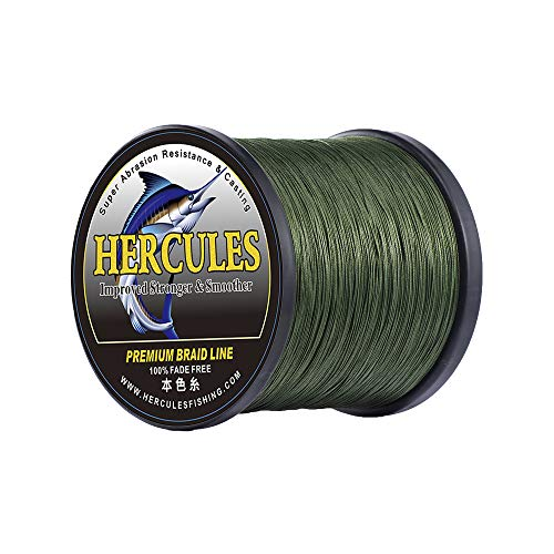 HERCULES PEライン 色落ちない 釣りライン 4本編み[グリーン 500M 6号 (27.2kg/60lb Φ0.4mm)]釣り糸 高強度 高感度 高飛距離 真円近似 PE釣糸 充実なタイプ