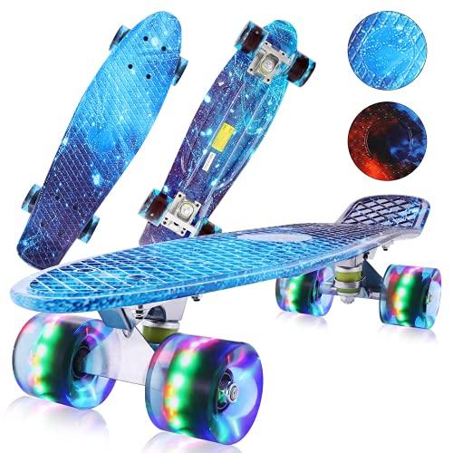 Monopatín Completo Mini Skateboard de 56 cm, Monopatín Cruiser, Cruiser Skateboard,con Cubierta de Plástico y Ruedas de 58 mm, Monopatín Completo con Rodamientos ABEC-7, para Niños, Jóvenes y Adultos