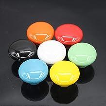 10 stks 39.5mm kleurrijke keramische deurgrepen ronde kast knoppen kast lade kast pull knop meubilair snoep kleur, oranje