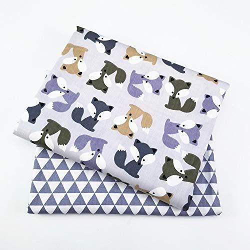Impression de tissu sergé textile pour le linge de maison en matériau textile drap de lit en tissu doux patchwork patchwork poupée de lit 2pcs / lot-2pcs chaque 50x80cm-