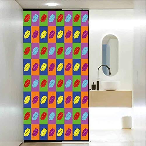 Película decorativa para ventana de papel de cristal, diseño pop de beso sobre colores vibrantes, película de vidrio estático para baño, oficina, sala de reuniones, sala de estar, 23.6 x 47.2