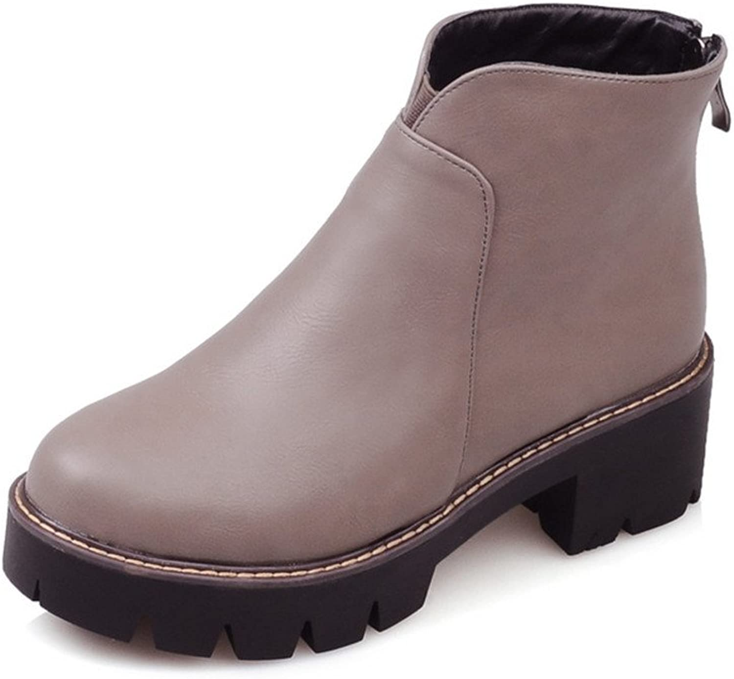Lucksender Womens Back Zip Round Toe Chunky Low Heel Platform Ankle High Boots