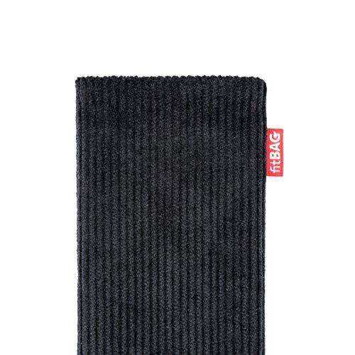 fitBAG Retro Schwarz Handytasche Tasche aus Cord-Stoff mit Microfaserinnenfutter für Huawei Ascend Mate 2   Hülle mit Reinigungsfunktion   Made in Germany - 4