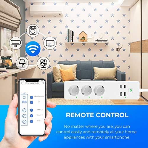 GBlife Prise Connectée, Multiprise Intelligente Compactible avec Amazon Alexa/Google Home/IFTTT Contrôle Vocal, Protection contre Surcharge, Prise WIFI avec Fonction Télécommande Contrôle Indépendant
