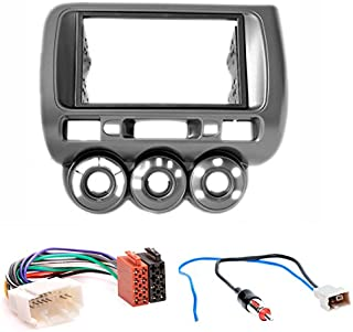 CARAV 11 464 12 2 Radioblende Car 2 DIN in Dash Installation kit Set for Fit, Jazz 2002 2008 (Manual Air Conditioning) (Left Wheel) + ISO and Antenna Adapter Cable
