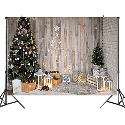 Christmas Photography Backdrop Vintage Wooden New Year Background Christmas Tree Studio Family Photoshoot Background 7x5ft Newborn Baby Portrait Photo Studio Booth Photoshoot Photographer Props