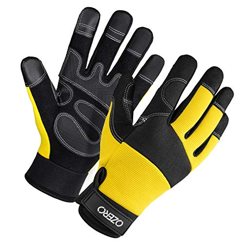 Mens Work Gloves with Flex Touch screen Fingertips and Synthetic Leather Palm for Gardening, Yard, Construction, Home Black-yellow