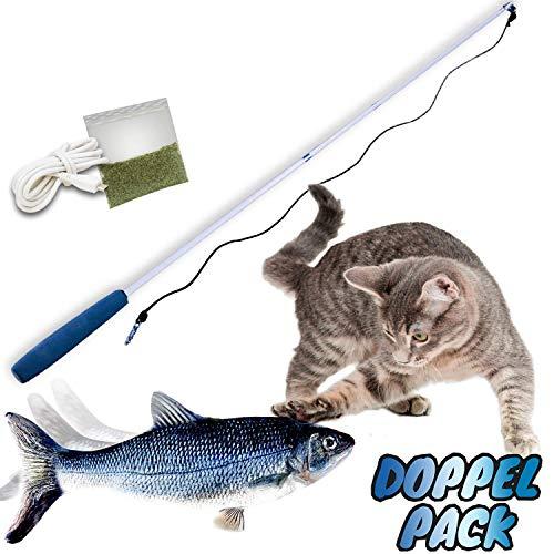 Mediashop Flippity Fish - 2 Stück – elektrisches Katzenspielzeug – Katzenminze - wiederaufladbar mit USB Kabel - Verschiedene Geschwindigkeitsstufen, mit Spielangel | Das Original aus dem TV