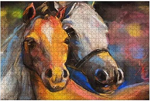 Pintura al óleo original Principito y zorro y rosa roja sentados en grandes rompecabezas de 500 piezas para adultos Juguete educativo para niños Juegos creativos Entretenimiento Rompecabezas de mader