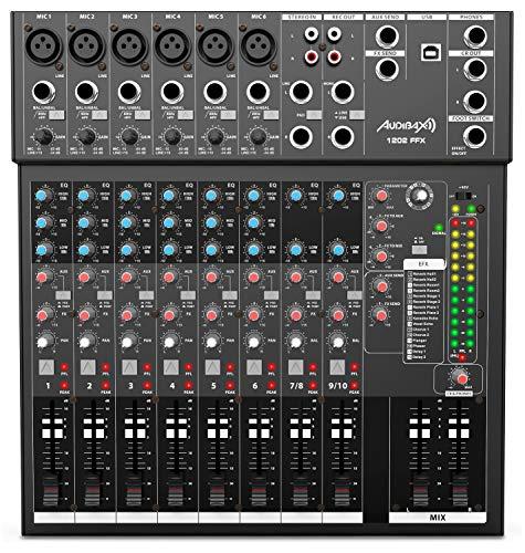Audibax 1202 FFX - Mesa de Mezclas con 12 canales, Interfaz de Audio USB, Mesa Dj Analógica, Procesador de Efectos Integrado, 315 x 100 x 340 mm, Alimentación Phantom 48V