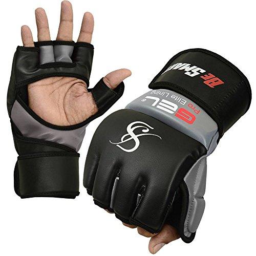 Echt.Rex Leder-MMA-Handschuhe für Damen, UFC-Gel-Tech, Boxsack-Training, Muay Thai, damen Herren Kinder, grau, Large