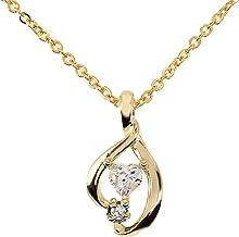 Etoile Heart レディース ネックレス 可愛いハート型 キュービックジルコニア & 滑らかライン ペンダント (イエローカラー)