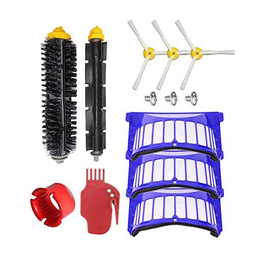 Festnight borstel accessoireset Compatibel met I-Robot 600 stofzuiger veegmachine reserveaccessoires (hoofdborstel + 3 x zijborstel (met schroeven) + ronde borstel + platte borstel + 3 x filternet)