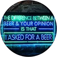Difference is I Asked For a Beer Bar Dual Color LED看板 ネオンプレート サイン 標識 緑色 + 青色 400 x 300mm st6s43-i3513-gb