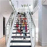 Pegatinas 3D autoadhesivas para escaleras, diseño de cubos apilados geométricos, para decoración del hogar, Color03, 7.08' x 43.3' Set of 13