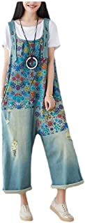 neveraway Women Custom Fit Printing Plus-Size Wide Leg Pocket Denim Overalls