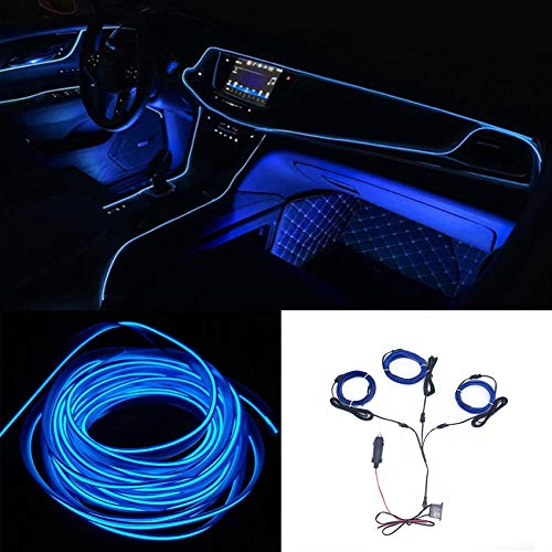 Neon El Wire Lights Set with 1 PCS 10FT EL Wire and 2 PCS 3.2FT EL Wires for Automotive Car, EL Wire led Lights for Cars Interior Exterior Cold Wire LED Lights DIY Decoration Strip Light (Blue-3 Pack)