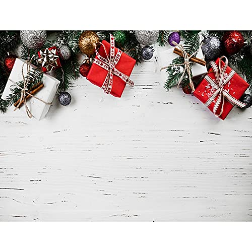 Fondo de Tema navideño Tablero de Madera Regalo de Nieve de Invierno Fondo de fotografía de Vinilo para Estudio fotográfico A20 10x7ft / 3x2.2m