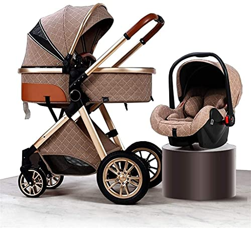 Cochecito de lujo para bebés 3 en 1 con asiento de automóvil, cochecito de bebé para recién nacido, cochecito ligero pliegue de una mano con pad de enfriamiento de sombra cubierta de lluvia muesca moc