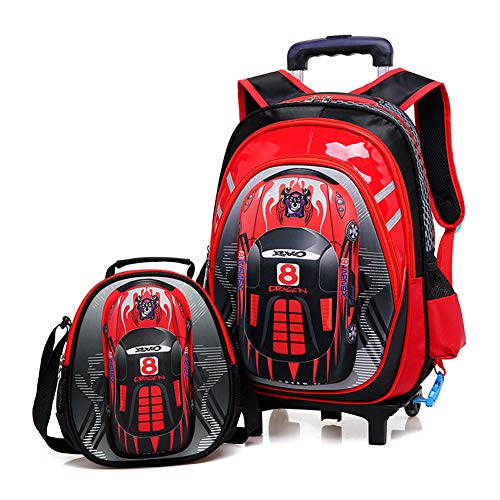 GNNHY Childrens/Kids Cabin Backpack Luggage Carry On Trolley Suitcase, for Your Favourite Doll/Action Figure/Bear (2 pack)- 2-wheel,Red