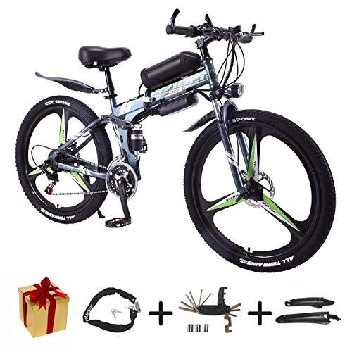 BIKE Electric Bicycle, Folding E Bike - 26 inch Wheel Electric Bike Aluminum Alloy 36V Mountain Cycling Bicycle, Shimano 21-Speed for Adults White-90Km,50Km