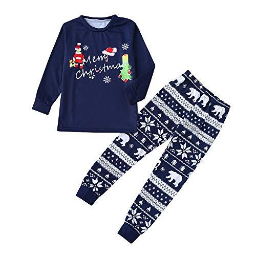 Hffan T-SW Hffan Damen Herren Baby Weihnachtspyjamas Eltern-Kind-Anzug Eltern-Kind-Schlafanzug Junge Mädchen Langarm Bequem Weich Pyjama Drucken Weihnachten Pyjamas(Blau,6T)