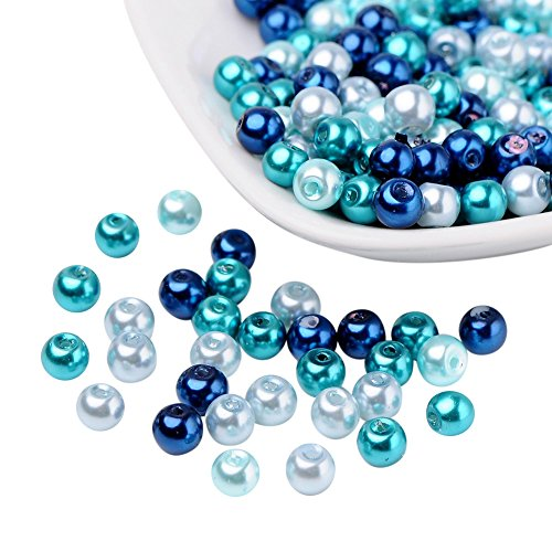 PandaHall Elite - Lot de 200pcs Perle en Verre Perle Rond Perles Nacrees Serie de Couleur Bleu Caraïbes pour DIY Fabrication de Bijoux Collier Bracelet, 6mm, Trou: 1mm