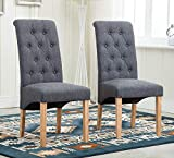 Enjoy Set of 2 Dark Grey Fabric Linen Dining Chairs Roll Top Scroll High Back With Buttons