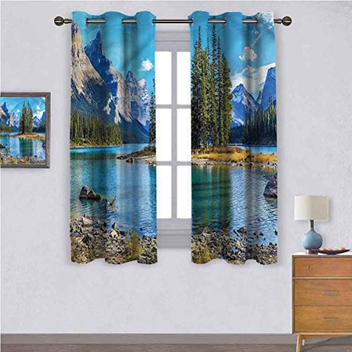 Jinguizi Grommet Bedroom Curtains Mountain,Maligne Lake West Canada Curtains for Sliding Glass Door 42 x 84 Inch