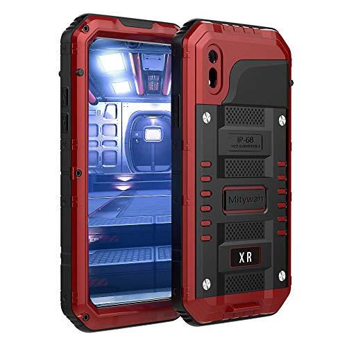 Mitywah Waterproof Case Compatible with iPhone XR, [Full Body Protective] Cover Built-in [Shield Screen Protection] [Shockproof] [Military Grade Defender] [Metal] [Heavy Duty ] Armor Rugged Shell,Red